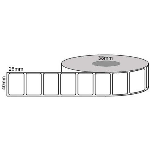 40mm x 28mm - White Direct Thermal Permanent Labels, 25mm core, (2000/roll)