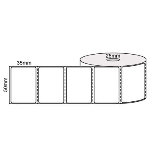 51mm x 36mm, 1 across (1000/roll) - White Direct Thermal Labels, Permanent Adhesive, 25mm core - L18564