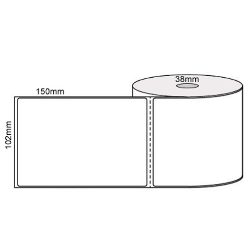 102mm x 150mm - White Direct Thermal Perforated Labels, Permanent Adhesive, 25mm Core, (400/roll)  -