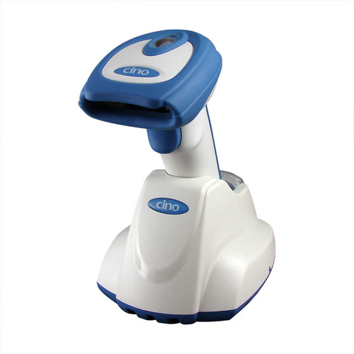 White & Blue Cino F-780 Bluetooth Cordless Scanner with Smart Communications Cradle