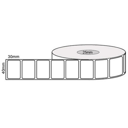 40mm x 30mm - White Thermal Transfer Matt Removable Labels, 25mm core, (1000/roll) - L10062