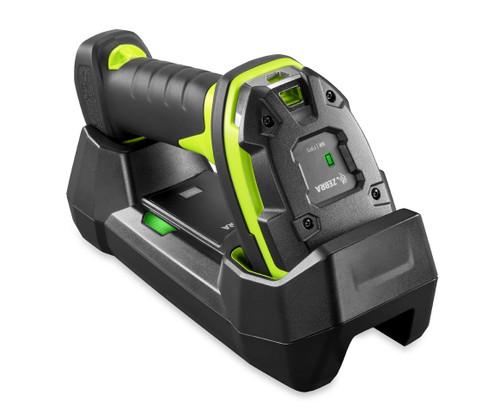 ZEBRA SCANNER KIT DS3678 BT 2D-SR USB BLK in black and fluorescent green includes Cradle