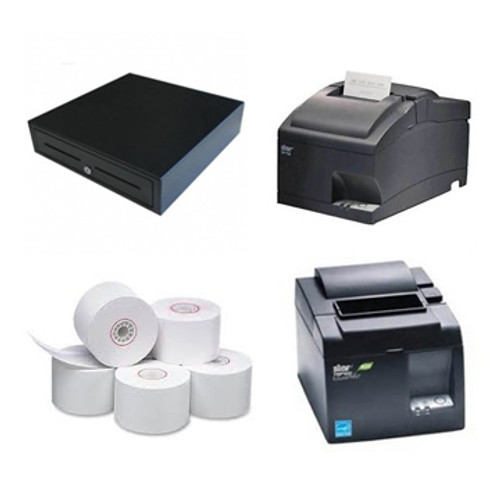 The square register bundle includes Star TSP 143 Receipt printer, SP742 Kitchen Printers, and EC410 cash drawer. All components in Black. Also includes a box of paper rolls.