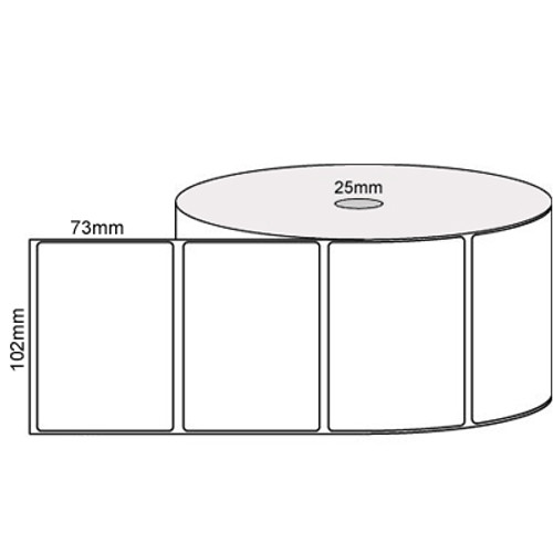102mm x 73mm - White Direct Thermal Removable Labels, 25mm core, (750/roll)