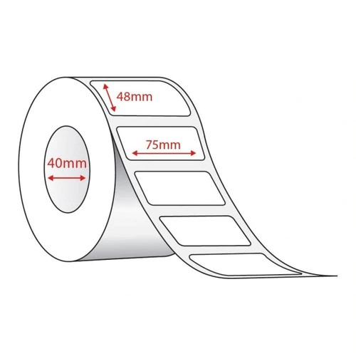 75mm x 48mm Direct Thermal - 1000 Lables per Roll on a 25mm Core
