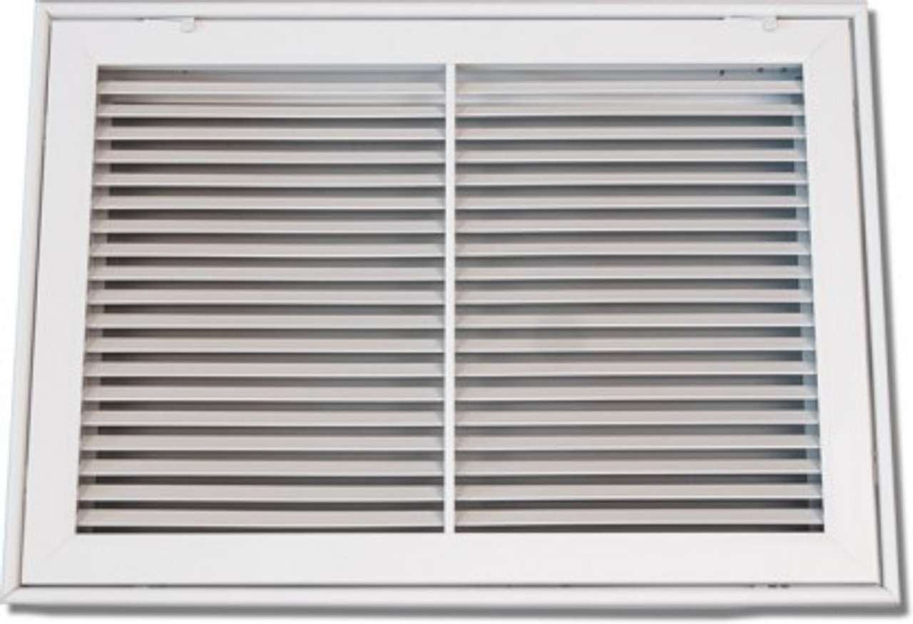 "20/"" x 20/"" Return Air Ventilation Steel Indoor Filter Grill White w Fixed Blades"