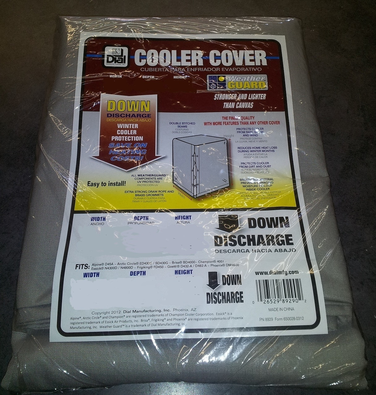 Copy of 36 X 36 X 40 Swamp Cooler Cover Downdraft Polyester