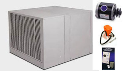 """Evaporative Cooler Complete System Bundle - 6800 CFM Downdraft 8"""" Pads - Aerocool Trophy TD6801C"""