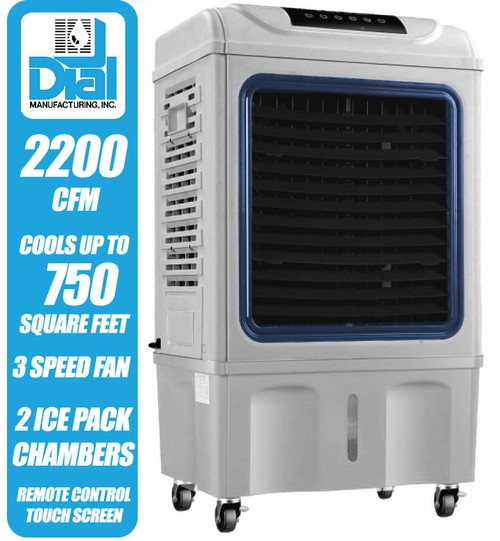 2200 CFM Mobile Evaporative Cooler with Remote & Ice Packs