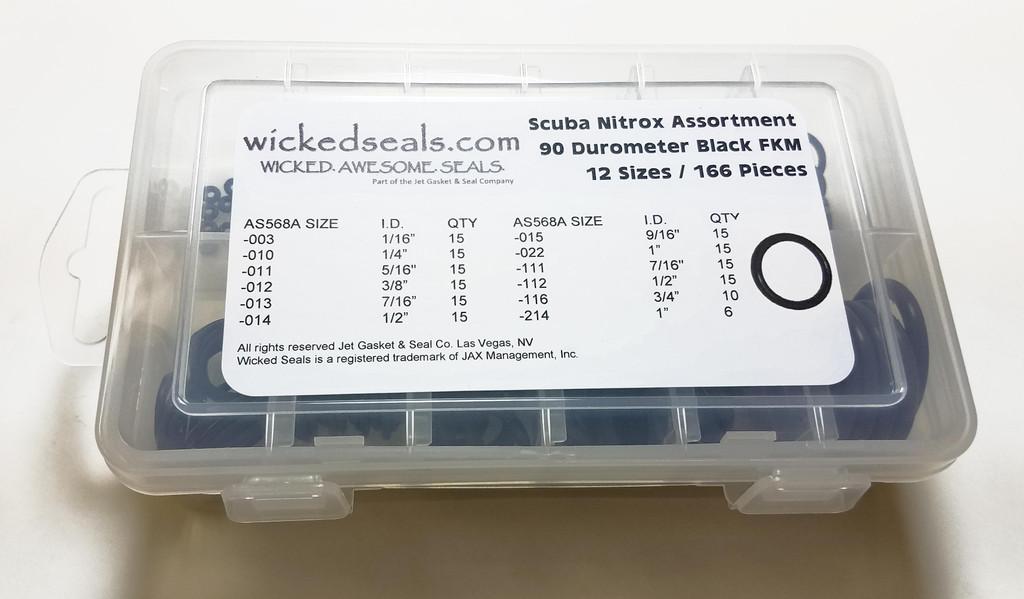 Nitrox Scuba O-ring Kit 166 pieces 90 Duro FKM (Viton)