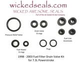 FUEL FILTER DRAIN VALVE O-RING KIT POWERSTROKE 7.3L W/ VIBRA-LOCS 98-03