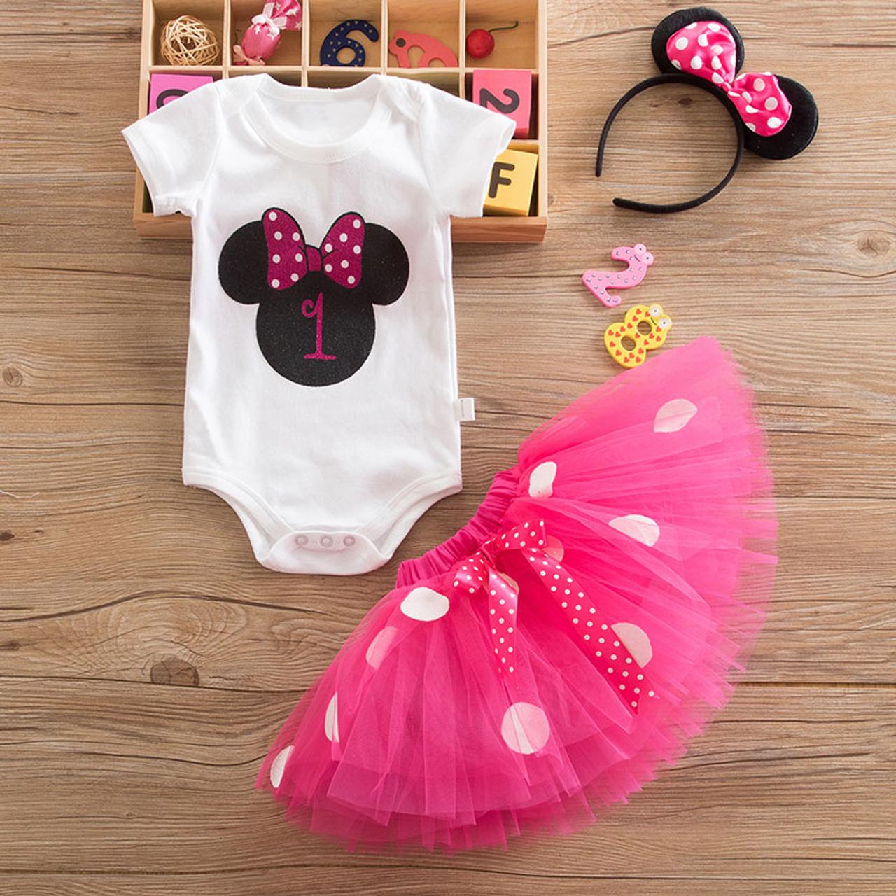 898932a5f Minnie Mouse Hot Pink 1st Birthday tutu set - Light of Mine Clothing