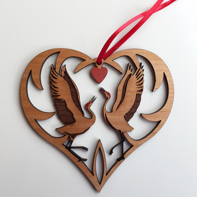 Whooping Cranes Heart Ornament