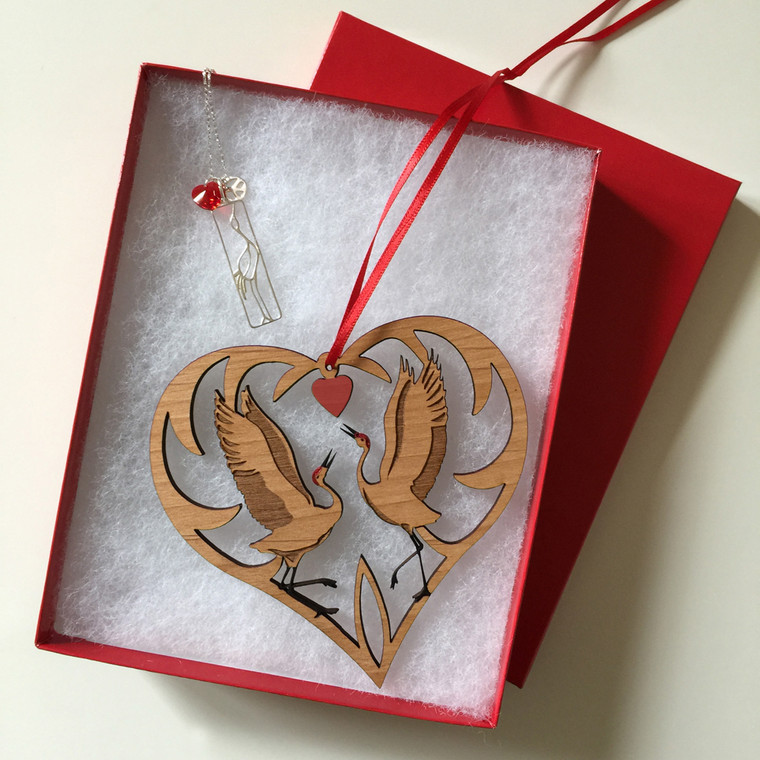 Peace, Love, Cranes Necklace and Whooping Cranes Heart Ornament