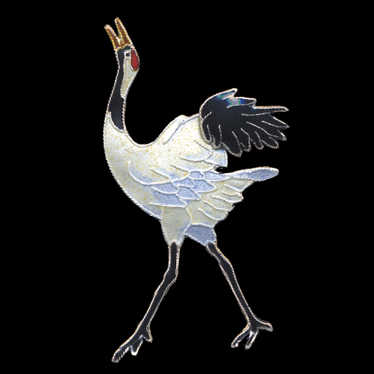 Red-crowned Crane enamel pin