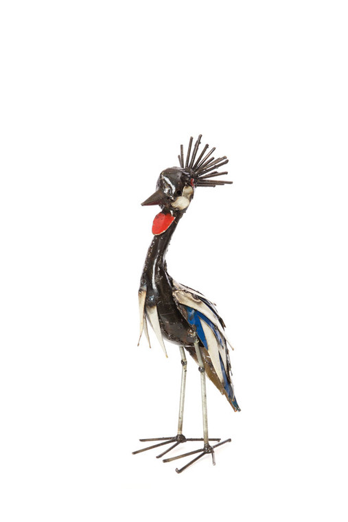 Small Crane Recycled Metal Crowned Crane Sculpture