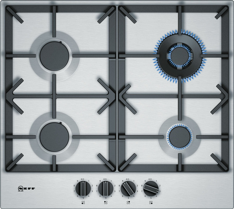 T26DS59N0A - 60cm 4 Burner Gas Cooktop with Wok Burner - Stainless Steel