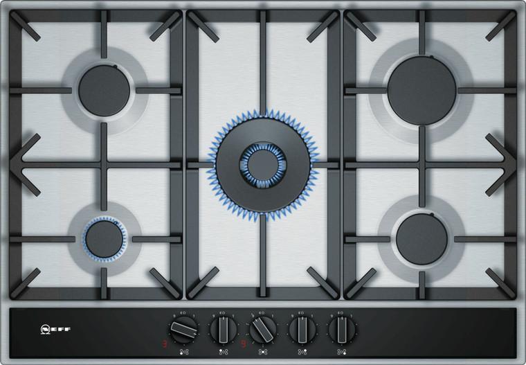 T27DA69N0A - 75cm 5 Burner Gas Cooktop with Wok Burner - Stainless Steel