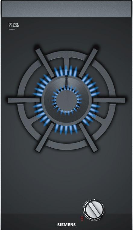 ER3A6AD70A - 30cm iQ700 1 Dual Flame Wok Burner Domino Gas Cooktop - Black Ceramic Glass