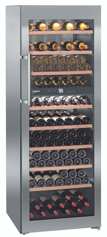 WTes 5972 - Vinidor Wine chiller, 211 Bottle, Dual Zone with Glass Door, Stainless Steel