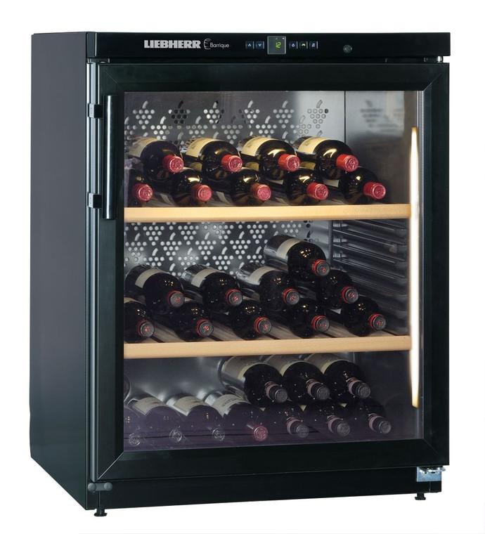 WKb 1712 - Barrique  Wine Cellar, 160 Bottle, Single Zone, Glass Door - Black