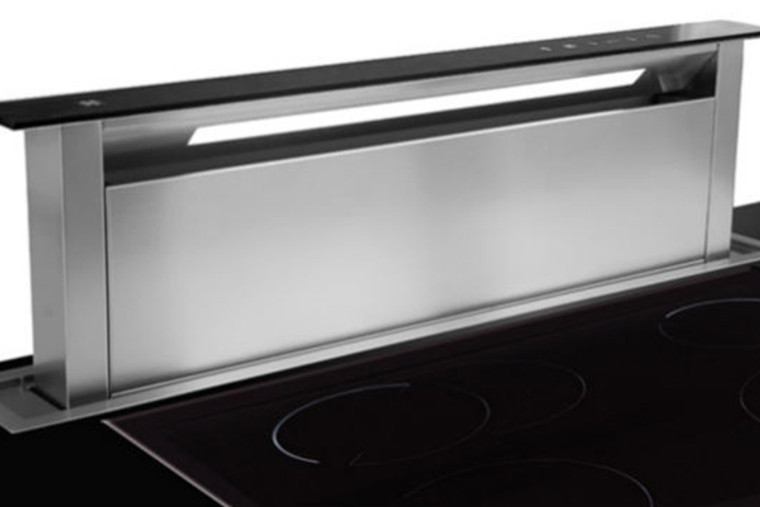 SDD2 L EMTC 580 - 58cm Valentina Collection Downdraft Rangehood - Black Glass Fascia / Stainless Steel Trim