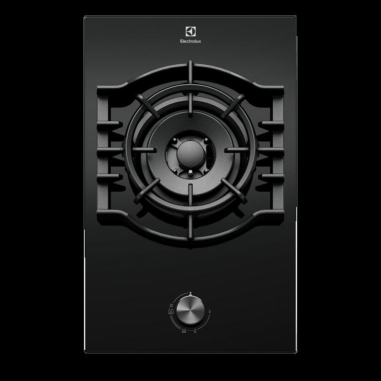 EHG313BD - 30cm Single Burner Gas Cooktop With Wok Burner - Black Ceramic Glass