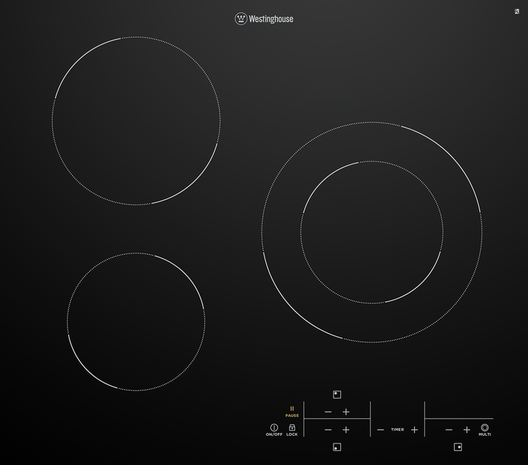 WHC633BC - 60cm 3 Zone Ceramic Cooktop with MaxiZone and Dual Variable Zone