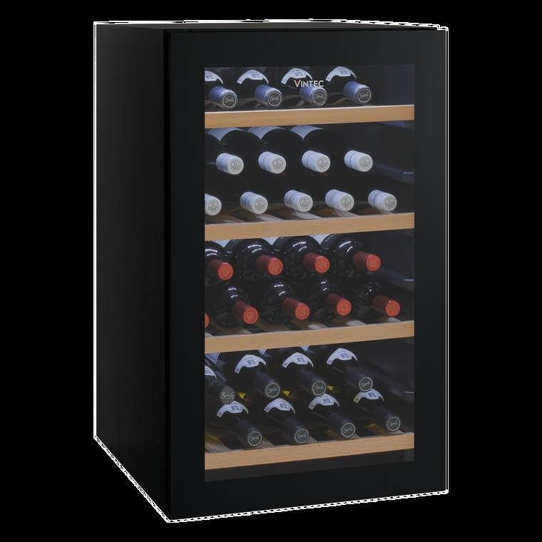 VWS035SBA-X - 35 Bottle* Single Zone Freestanding Cellaring or Serving Wine Cabinet. (Based on a Bordeaux Shaped Bottle) Black Glass