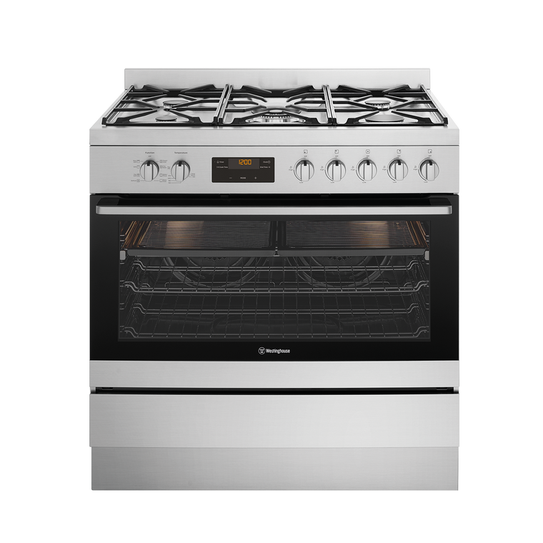 WFE914SC - 90cm Dual Fuel Freestanding Cooker With 5 Burner Gas Hob Including A 14.4 Mj/H Wok Burner, And 125L Gross Capacity Oven With Twin Fan System
