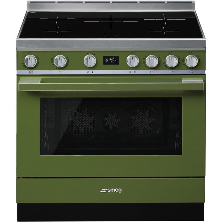 CPF9IPOG - 90cm Portofino Freestanding Cooker, 5 Zone Induction, Pyrolytic Cleaning - Olive Green