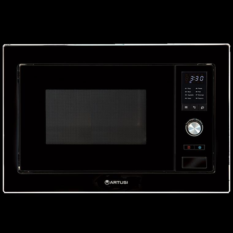 AMG28TKB - 60cm Built-In 28L Microwave Oven + Trim Kit - Black Glass