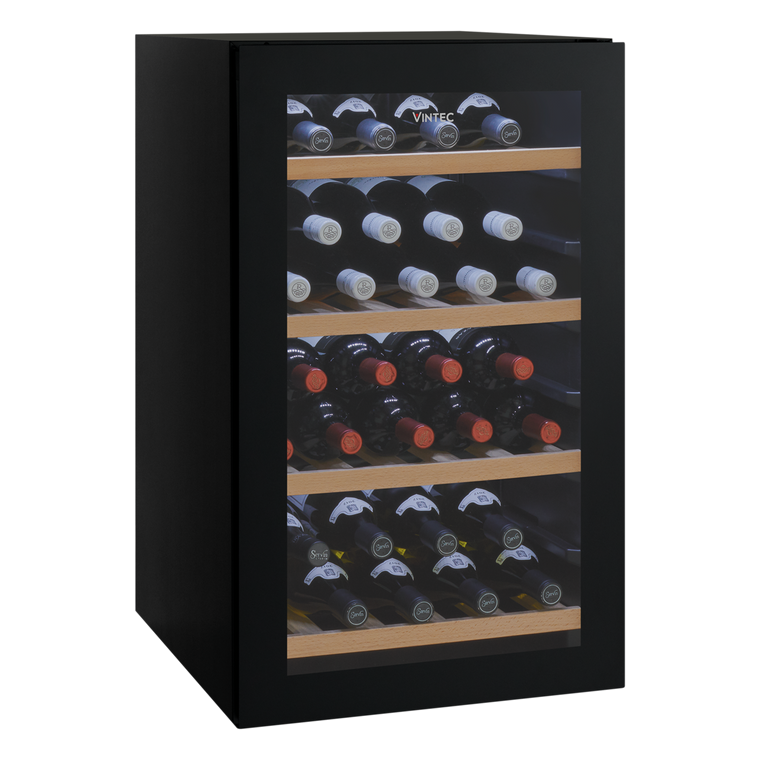 VWS035SBB-X - 35 Bottle Freestanding Wine Cellar or Serving Cabinet - Black