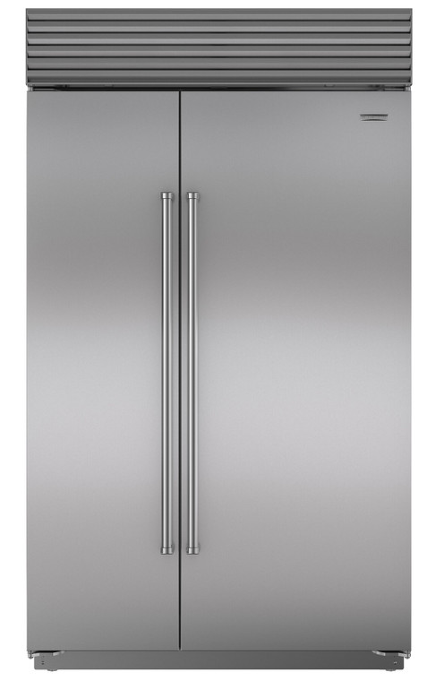 ICBBI48SIDSPH - 879L Built In Classic Side by Side Fridge with Internal Ice & Water Dispenser, Pro Handle - Stainless Steel