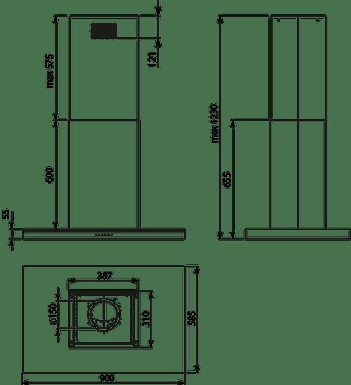 F7LA90W1 - 90cm Lumina NRS Island Canopy Rangehood - Stainless Steel / White Glass