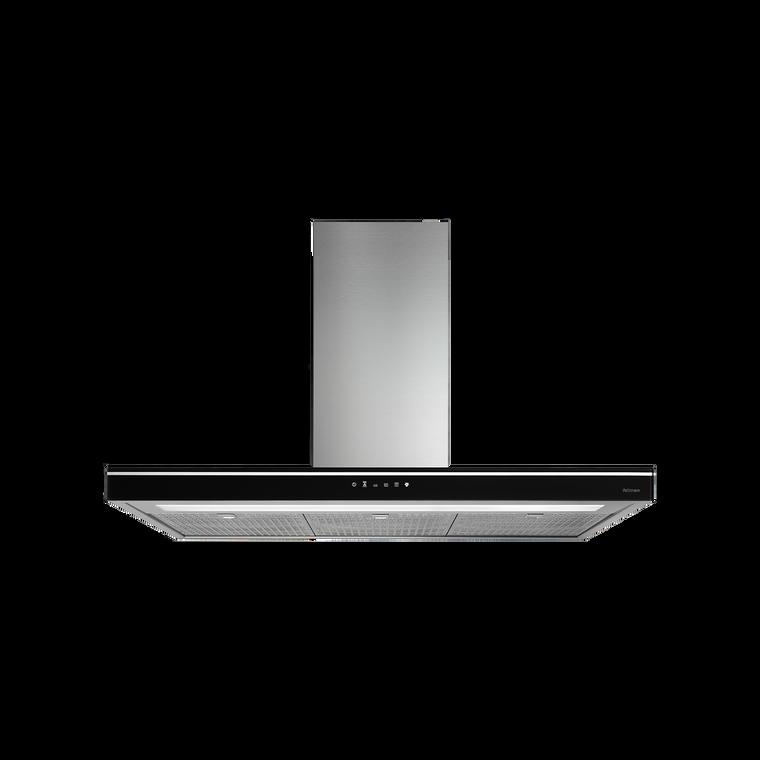F7LC90B1 - 90cm Luce Island Canopy Rangehood - Stainless Steel / Black Glass