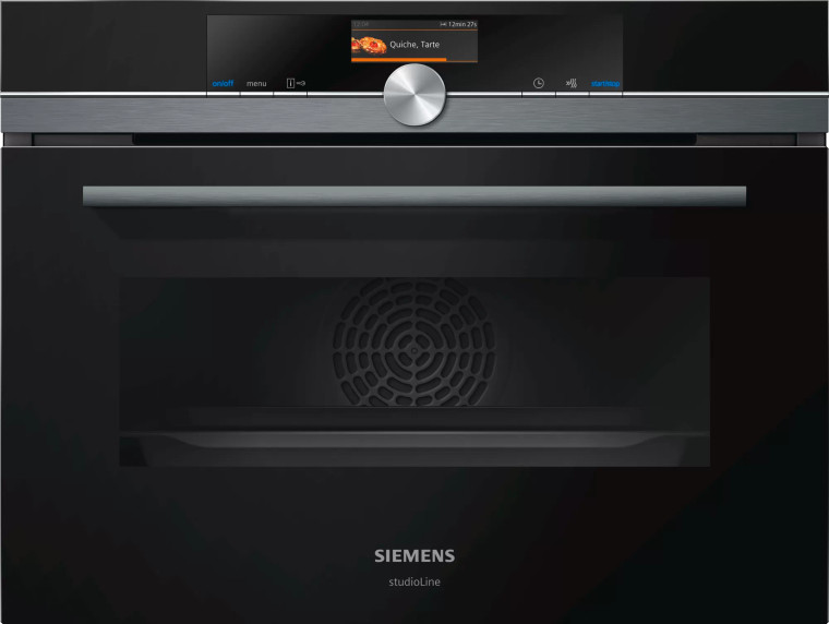 CM836GPB6 - 45cm iQ700 Compact Built In Microwave Oven - Black Steel