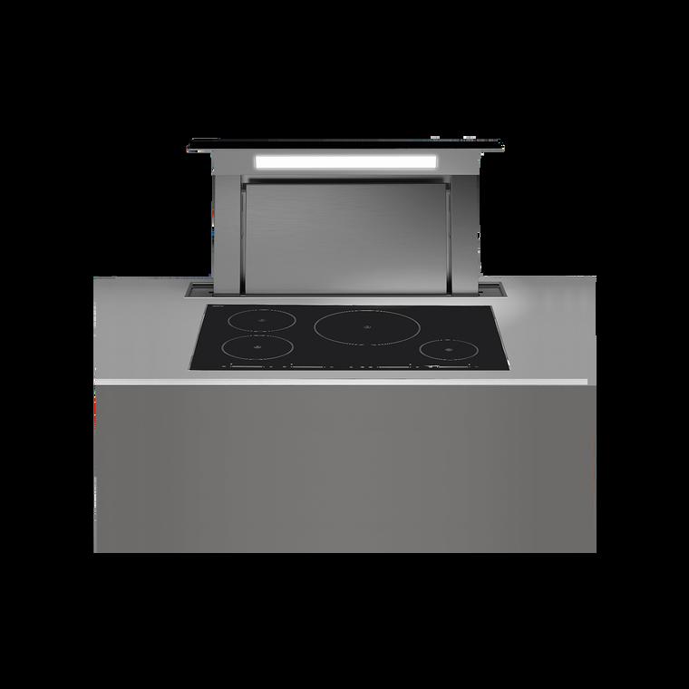 F8DD12B1-IN1300 - 120cm Designer Series Downdraft with In-line Motor - Stainless Steel / Black Glass