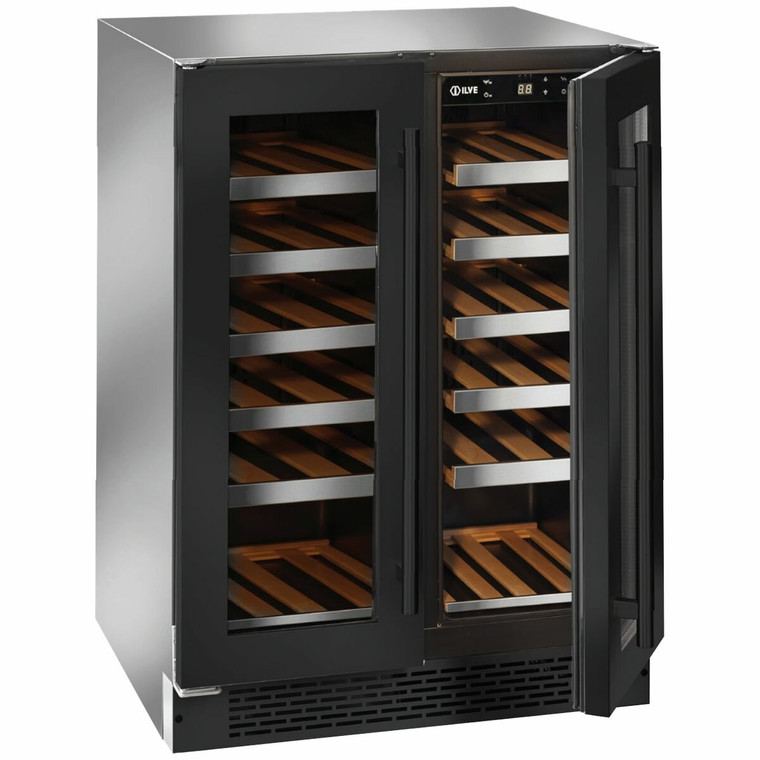 ILWD36BV - Dual Zone Double Door Wine Cabinet - Black Glass