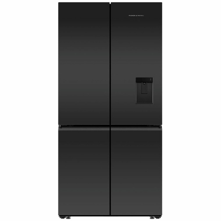 RF730QZUVB1 - 744L Quad Door French Door Refrigerator with Ice and Water - Matte Black Glass
