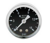 "Gauges are 1-1/2"" diameter with stainless steel cases and bezels. Available glycerin-filled, dry, or engine turned with brass internal parts and 1/8""NPT connections on back."