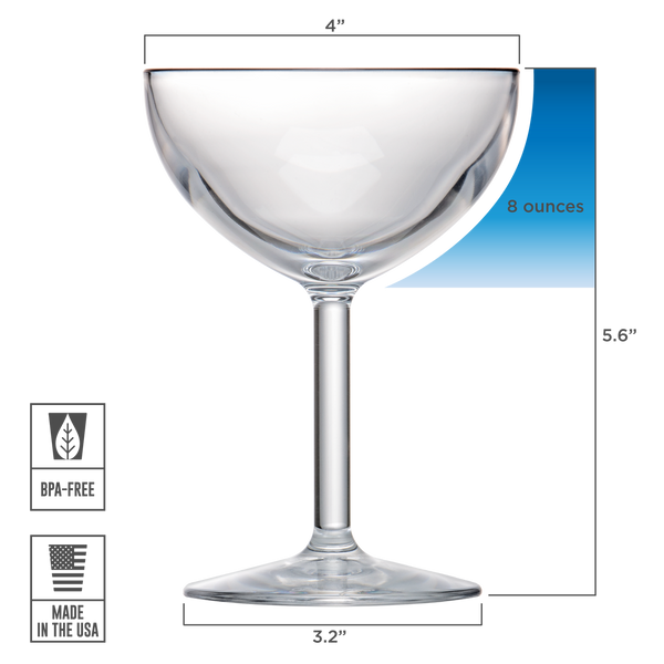 Drinique Unbreakable Coupe Glass 8 oz. Dimensions