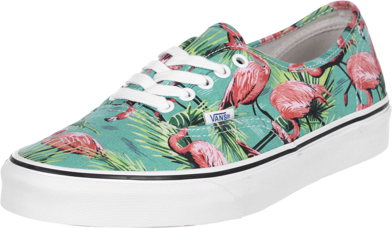 d2be63890bb51a Vans Kids Girls and Boys Turquoise Flamingo Authentic Lace Up Shoes