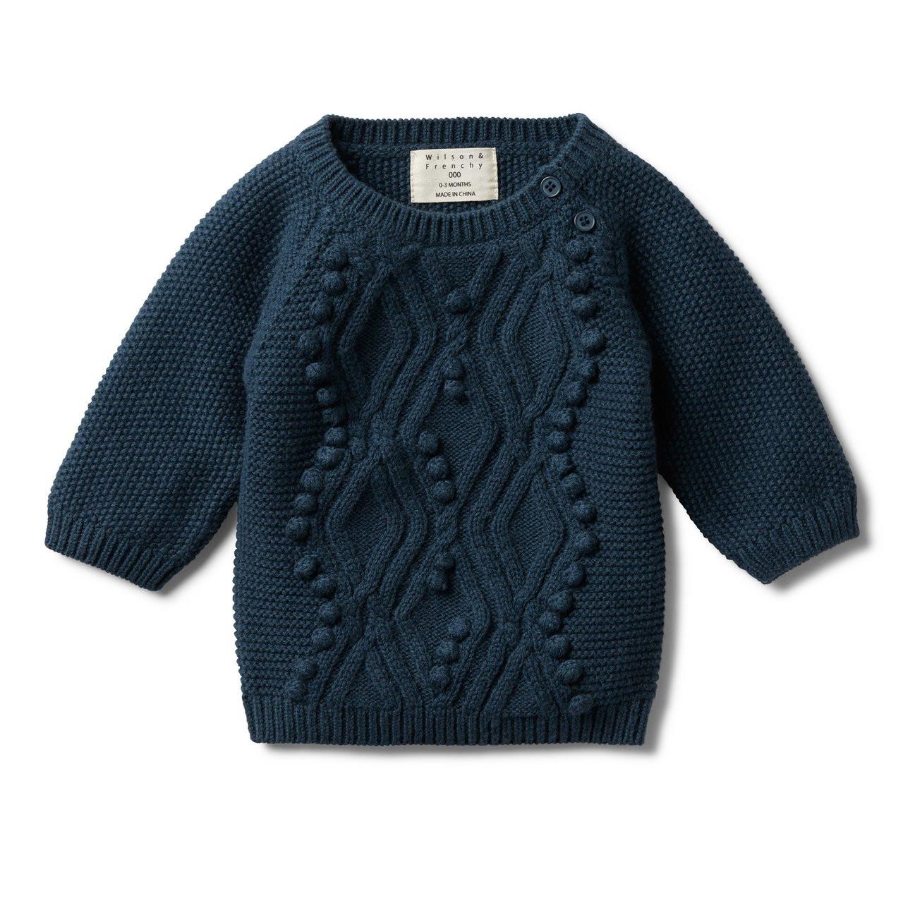 e6e4c938a Majolica Blue Cable Knitted Pom Pom Jumper - Yoko