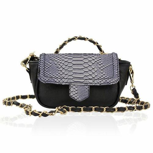 Elsa Black Python Bag
