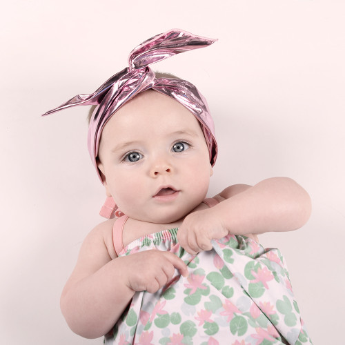 Metallic Twist Headband Pink