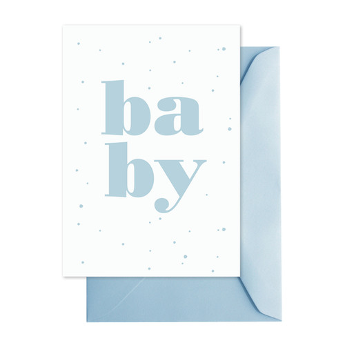 Blue Baby Greeting Card with free gold gift wrap