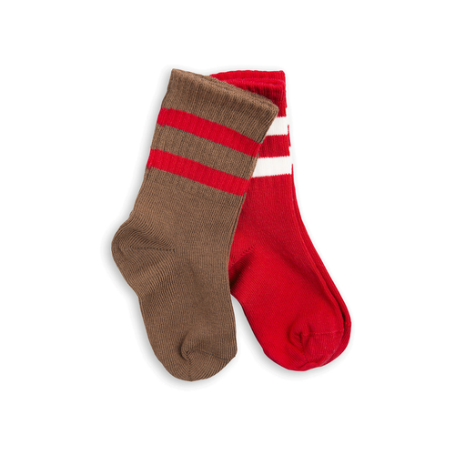 2 Pack Stripe Socks Brown/Red