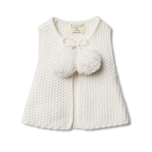 Cloud Knitted Vest With Pom Poms