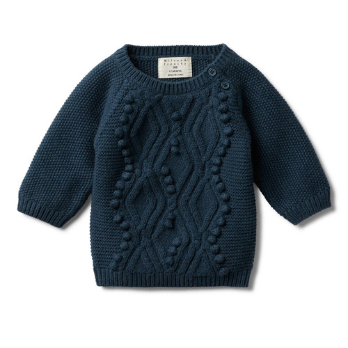 Majolica Blue Cable Knitted Pom Pom Jumper